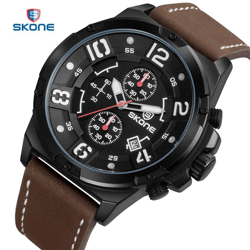 SKONE Multifunction Sport Watches Men Famous Brand Luxury Leather Army Mens Quartz Wrist Watch Relogio Masculino S Shock XFCS<br>