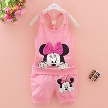 Newborn Baby Girls Clothes Set Cartoon Sleevedless Tops + Shorts 2PCS Outfits Kids Bebes Clothing Childrens Jogging Suits