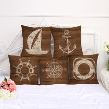 Retro Mediterranean Style Cushion Cover Anchor Boat ocean Marine Linen Throw Pillow Case 45x45cm Home Decorative Pillowcase