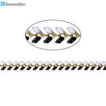 "Doreen Box Copper Spiky Chains Findings Gold color Black & White Enamel 7x6mm( 2/8"" x 2/8""), 1 Piece(Approx 0.5 M/Piece)"