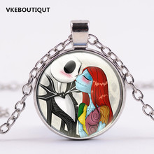 3/Color Newest Fashion Glass Nightmare Before Christmas Chain Necklace with 2.5CM Pendant for DIY Necklace