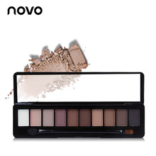 NOVO Brand 10 Colors Naked Matte Glitter Eyeshadow Palette Set Makeup Eye Shadow Powder Pallete Make up Pigment Beauty Brushes