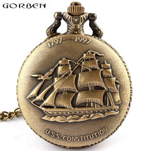 Free shipping Antique Bronze Sailing Canvas Boat Ship Necklace Pocket Chain Quartz Pendant Watch Gift P77 relogio de bolso