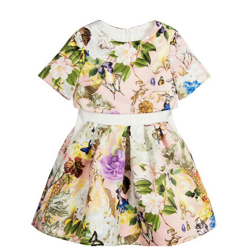2017 New Spring Autumn Girls Dresses Floral print Children Fashion dress girls princess baby girl dress Birthday party Custume<br><br>Aliexpress