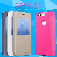 Huawei Honor 8 case NILLKIN Sparkle super thin humanized window design flip cover Protective case for Huawei Honor 8 Honor8(China)