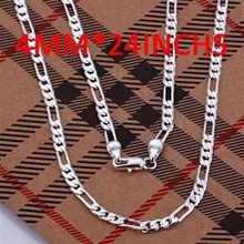 CN3 Hotsale New Items / Men Jewelry /  High Quality / sterling-silver-jewelry 4MM Figaro Chain Necklace