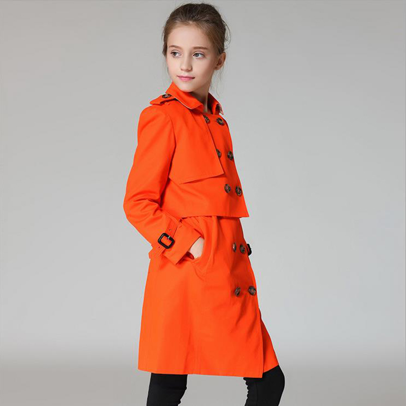 Big Girls Trench Coats Long Cotton Jackets For Girls Outerwear Lace Double Breasted Girls Windbreaker Spring Autumn Kids Clothes<br><br>Aliexpress