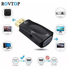 Rovtop HDMI to VGA Adapter аудио кабель Converter мужчин и женщин HD 1080 P для портативных ПК ТВ Box Компьютер Дисплей проектор Z2(China)