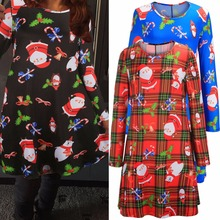 2017 NEW High Quality Models Christmas Elk Print Dresses women's ladies Long Sleeve Party Dress Christmas Xmas Dress L1022