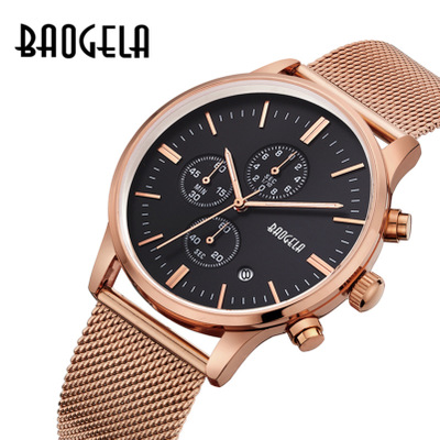 Original brand Luxury Stainless Steel Mesh Band Gold Watch Men Sports Watches quartz-watch Multi-function Chronograph Wristwatch<br>