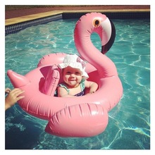 For 8-24 months Baby Pink Flamingo Swimming bath Ring Inflatable Swim water Fun Pool Toys Swim Ring Seat Boat Kids bath toys