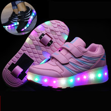 2016 Girls Boys Kids LED Light Glow Shoes With Wheels Roller Skate Sneakers Waterproof Pink/Black Full Led Sole for Children