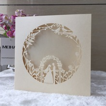 1pcs Laser Cut Flower Groom And Bride Wedding Invitation Card Paper Invitation Wedding Decoration Mariage Favors(China)