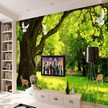 beibehang Custom 3 d wallpaper image forest tree background large photo 3 d TV living room decoration wall painting wallpaper(China)