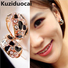 2017 New Hot Fashion High Quality Jewelry Sexy Leopard Elegant Dazzling Gilded Rhinestone Geometry Stud Earrings For Women E-164