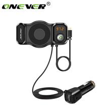 Onever 2 in 1 Phone Holder FM Transmitter Handsfree Bluetooth Car Kit Radio Modulator Car MP3 Audio Player Support SIRI Function