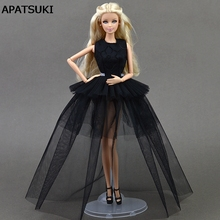 Buy Black Little Dress Doll Dresses Sexual Multi-layer Evening Gown Purely Manual Clothes Lace Wedding Dress Barbie Dolls Gifts