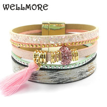 Buy pink leather bracelet women charm bracelet Friendship bracelet Bohemian bracelets&bangles B1617 for $4.25 in AliExpress store