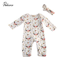 Newborn Baby Girls Deer Floral Romper Pants Clothes Outfits One-pieces Toddler Girl Infant Rompers Print Flower Lovely Warm(China)