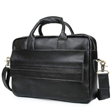 Genuine Leather Men Briefcases Handbag Document Black Business Office Laptop Bag Leather Brief Cases Male Work Bag Attache Case