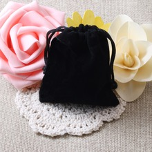 Wholesale 7*5cm Drawstring Black Velvet Bags Pouches Jewelry Bags Christmas Valentines Gifts Bags 20pcs/lot