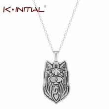 Kinitial Yorkie Necklace Yorkshire Terrier Pendant Puppy Heart Dog Memorial Pet Necklaces Pendants Women Animal Necklace Chokers