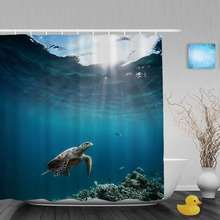 Sea Turtle Floating Over Ocean Bathroom Shower Curtain Marine life Shower Curtains Waterproof Mildew Polyester Fabric With Hooks