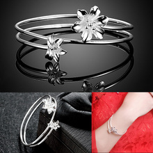Fashion 925 Sterling Silver Women Bangles Bracelet Bangle Fit Flower Double Layers Charms Jewelry 88 @ KQS(China)