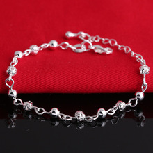Silver Crystal Chain Bangle Cuff Charm Beads Bracelets For Women Jewelry Pulseira 2016 New