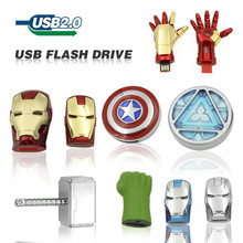 Usb Flash Drive cartoon 32GB 64GB Captain America Iron 16GB 8GB Man The Hulk Thor  U Disk Pen drive USB 2.0 memory stick