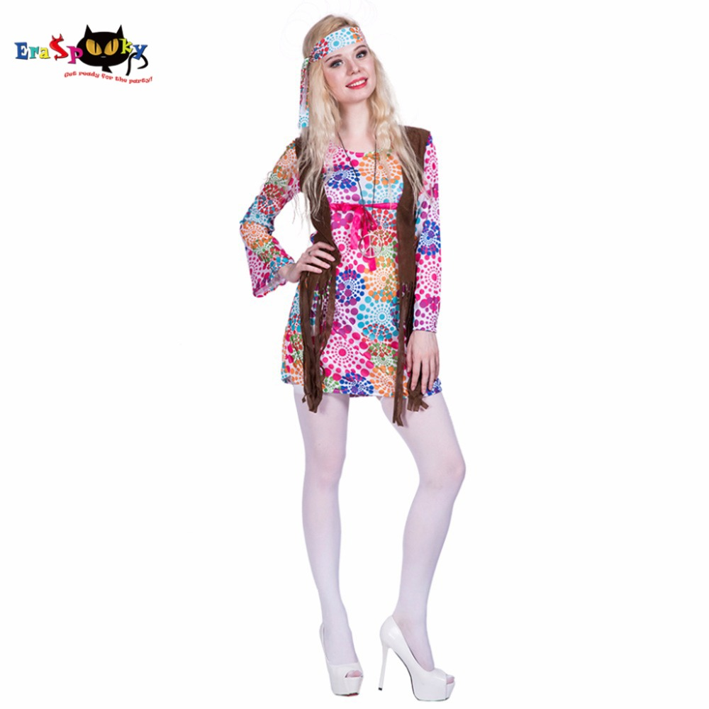RETRO PEACE long sleeves 60s 70s LADIES fancy dress S//M