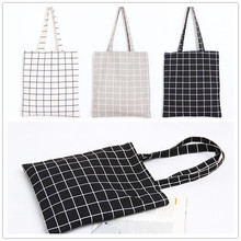 YILE Lining Cotton Linen Shoulder Bag ECO Shopping Tote Check Plaid Black Grey White PP09(China)