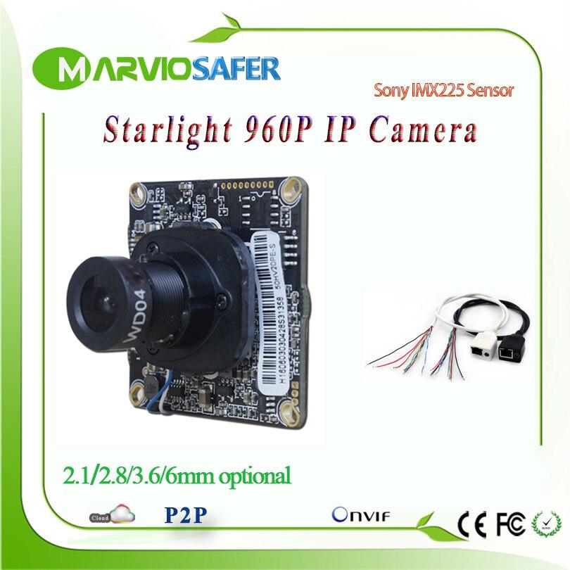 2.8/3.6/6/8mm Lens 960P HD 1.3MP Starlight IP camera Network  Module Colorful Night Vision Sony IMX225 Sensor CCTV IPCAM Board<br>