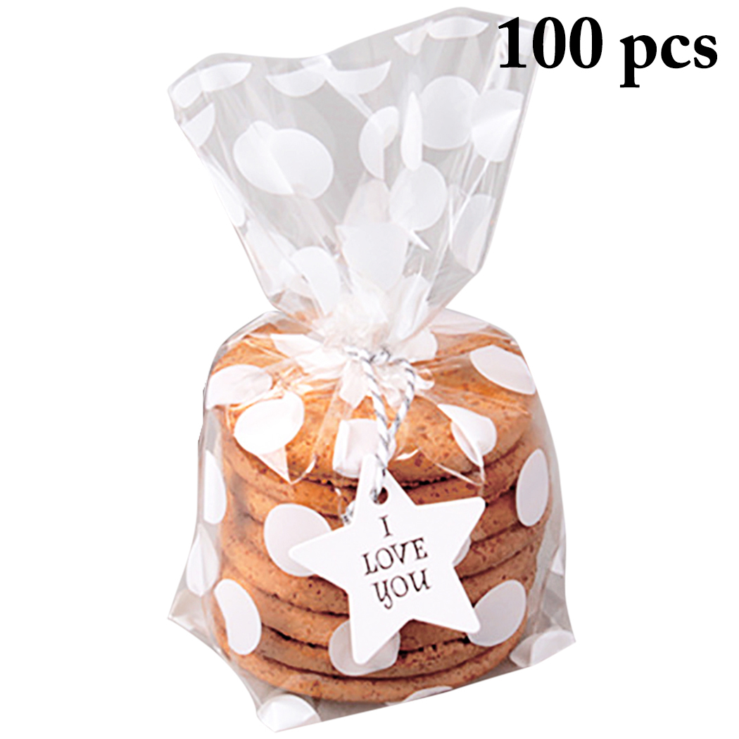 100X Self Adhesive Love Heart Plastic Cookie Candy Package Cellophane Gift-Bags