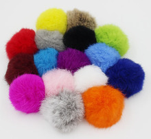 Furling Wholesale 12PCS Real Rabbit Fur Pom Pom Ball Mobile Cords Straps Removable Hand Bag Charms