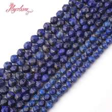 "Blue Lapis Lazuli Faceted Natural Stone Beads For Necklace Bracelet DIY Jewelry Making Loose Strand 15""5,6,8mm Free Shipping(China)"