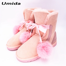 Umida Brand Top Quality Women's Boots 100% Genuine Wool Fur Snow Boots Waterproof Cowhide Leather Boots Winter Shoes for Women(China)