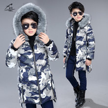 FYH Kids Clothes Winter Boys Fur Hooded Parka School Children Winter Outwear Black Camouflage Boys Warm Thick Cotton Padded Coat