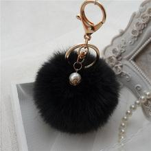 For Cell Phone Lanyard Cords Strap Mobile Phone Lanyard Keys Neck Straps Rabbit Fur Plush Ball Cheap Hot Sale