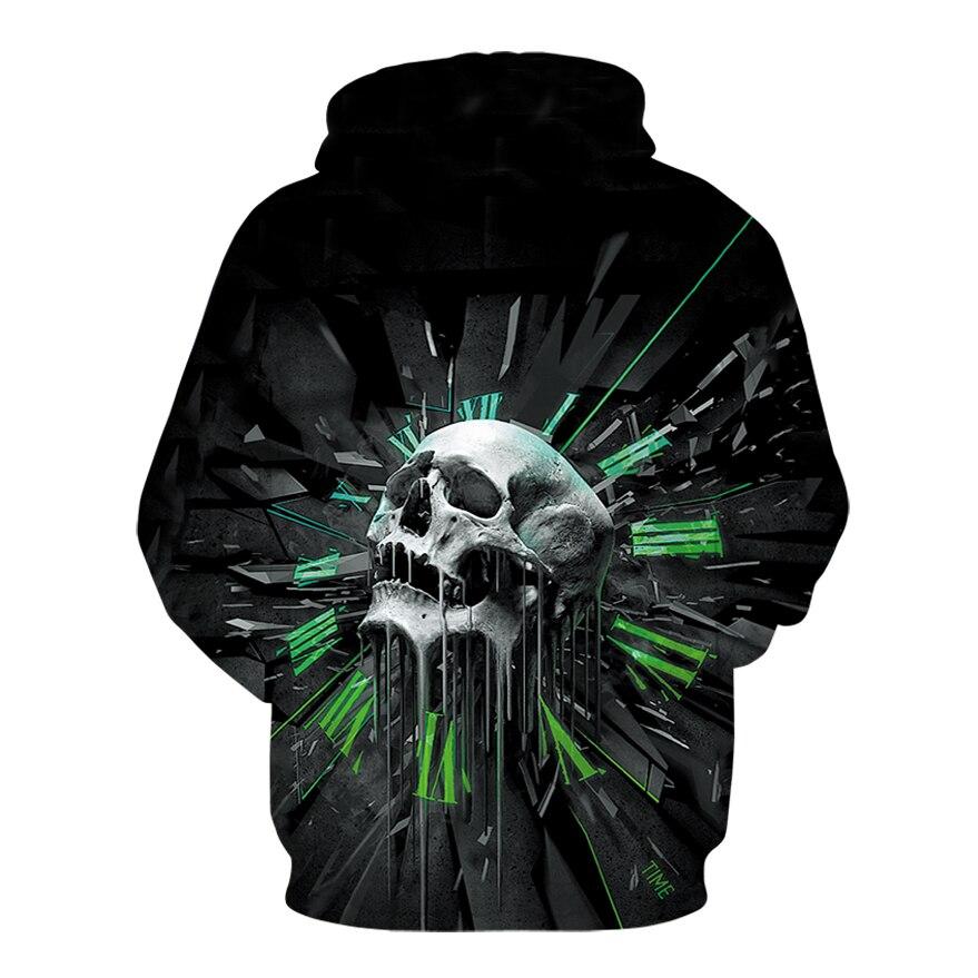 42cde21f79add Fashionable Woman 3D Skull Hooded Sweatshirts Printed Headphones ...