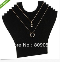 Free Shipping! Hight Quality Wholesale 2pcs New Black Velvet Necklace Easel Showcase Holder Jewelry Display Stand(China)