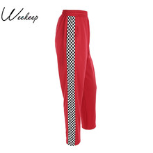 Weekeep Women 2017 Fashion Brand Pantalon Femme Side Checkerboard Sweatpants Red Knitted Womens Trousers Casual Loose Lady Pants(China)