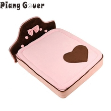 Bow Cute Dog House Cat Bed Mats Pink Pets Cat Mat Sofa Sleeping Supplies For Small Dog(China)