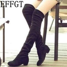 EFFGT 2017 Martin boots new Women Suede Sexy Fashion Over the Knee Boots Sexy Thin High Heel Boots Platform Women Shoes C137