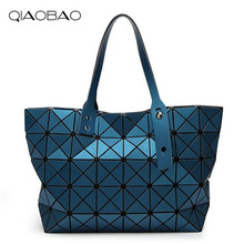 QIAOBAO Brand New Women Matte drawing Bag Female Diamond Lattice Tote Geometry Quilted Handbag Geometric Mosaic Shoulder Bag(China)