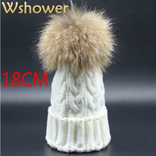 Which in shower Real Raccoon Fur PomPom Women Beanies Skull Cap Warm Winter Knitted Women Fur Hat Hip Hop With Hairball Top(China)