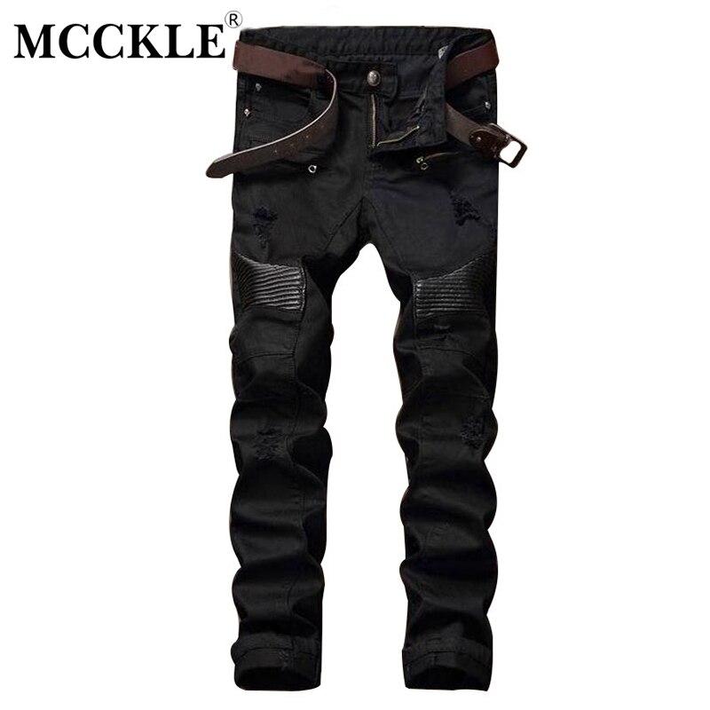 MCCKLE Fashion Designer Mens Ripped Biker Jeans Leather Patchwork Slim Fit Black Moto Denim Joggers  Male Distressed Jeans PantsÎäåæäà è àêñåññóàðû<br><br>