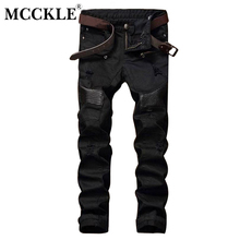 MCCKLE Fashion Designer Mens Ripped Biker Jeans Leather Patchwork Slim Fit Black Moto Denim Joggers Male Distressed Jeans Pants(China)