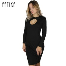 FATIKA 2017 Fashion Long Sleeve Sexy Club Women Dress Slim Bodycon Open Front Knee-Length Party Night Dress