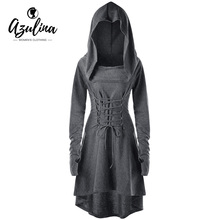 AZULINA Vestidos Gothic 2018 Women Spring Dress Dresses Lace Up Hooded Asymmetrical High Low Dress Bandage Back Robe Femme 5XL(China)